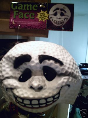 Game face golf ball mask
